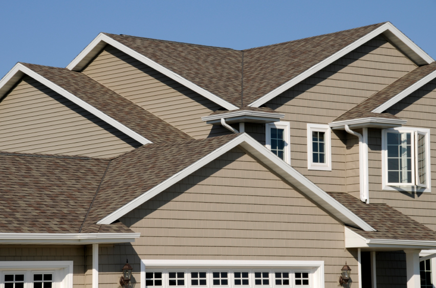 Residential home with new asphalt shingles
