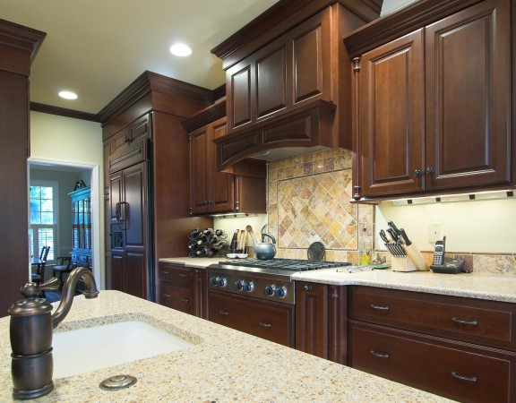 beautiful custom kitchen with cherry cabinets and high-end fixtures